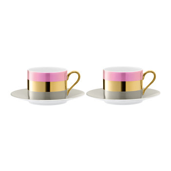 Bangle Teacup & Saucer - Set of 2 - Rose
