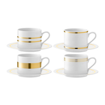 Deco Assorted Gold Teacup & Saucer - Set of 4