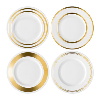 Deco Assorted Gold Starter/Dessert Plate - Set of 4