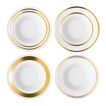 Deco Assorted Gold Soup/Pasta Bowl - Set of 4