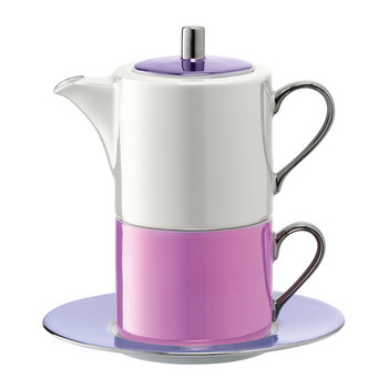 Polka Tea for One & Saucer - Pastel