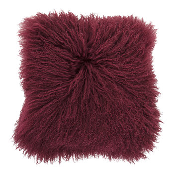 Mongolian Lambskin Pillow - Red