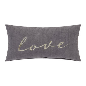 Grey 'Love' Pillow - 60x30cm