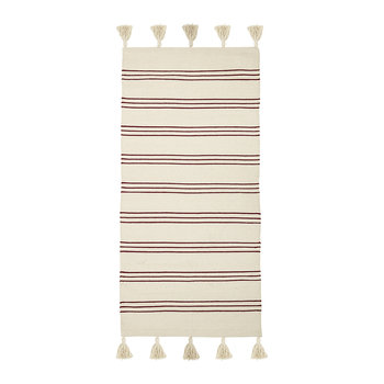 Striped Rug - 120x60cm - Natural/Red