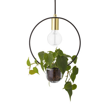 Pendant Lamp with Plant Holder - Gold