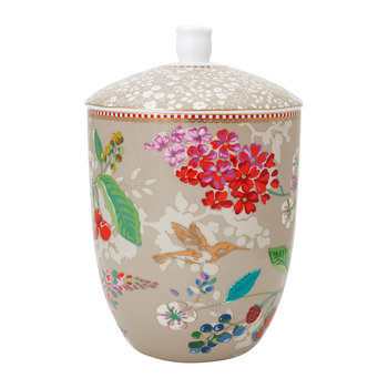 Hummingbird Storage Jar - Khaki