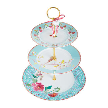 Floral 2.0 Three Tier Cake Stand - Blue