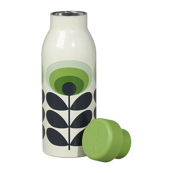 Insulated Water Bottle - 500ml - 70s Green Flower Oval