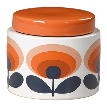 Storage Jar - 70s Orange Oval Flower - Small