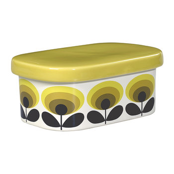 70s Oval Flower Butter Dish - Yellow