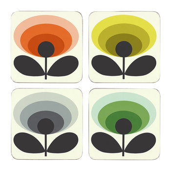 70s Oval Flower Coasters - Set of 4