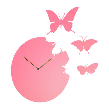 Large Butterfly Wall Clock - Pink