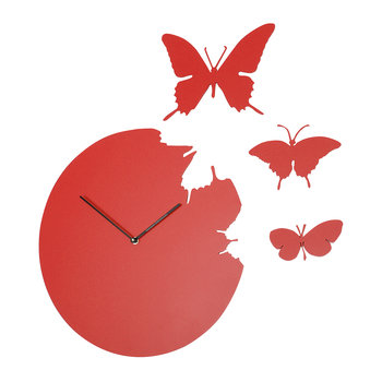 Large Butterfly Wall Clock - Red