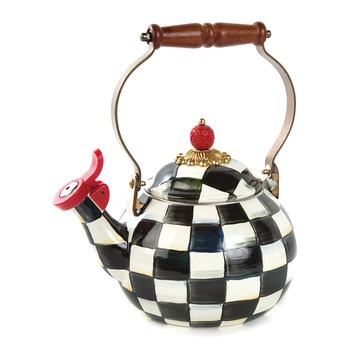 Courtly Check Enamel Whistling Tea Kettle