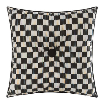 Courtly Check Button Cushion