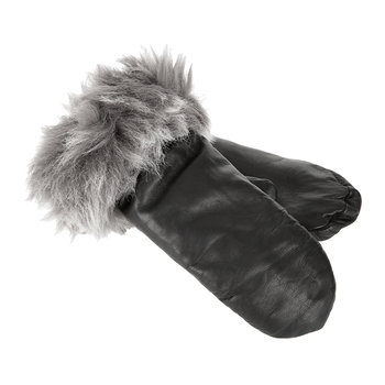 Women's Leather Mittens with Toscana Trim - Black
