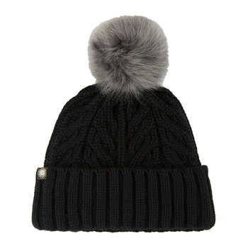 Women's Textured Cuff Hat with Fur Pom - Black