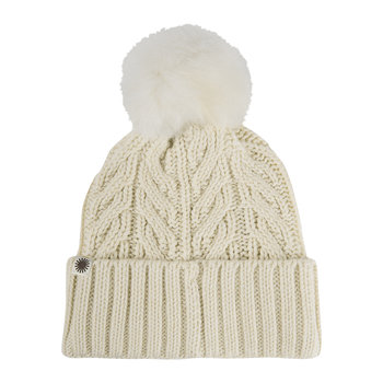 Women's Textured Cuff Hat with Fur Pom - Ivory Heather