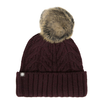 Women's Textured Cuff Hat with Fur Pom - Port