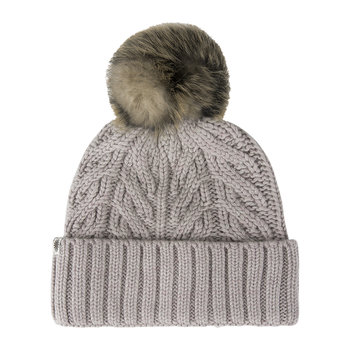 Women's Textured Cuff Hat with Fur Pom - Sterling Heather