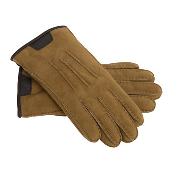 Men's Casual Glove with Leather Logo - Chestnut