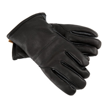 Men's Casual Leather Gloves with Pull Tab - Black