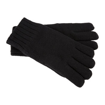 Men's Knit Gloves with Leather Palm - Black