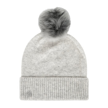 Women's Luxe Cuff Hat with Oversized Toscana Pom - Light Grey Heather