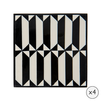 Black/White Coasters - Set of 4