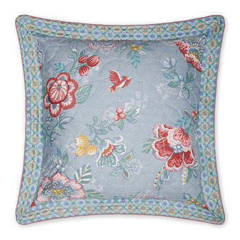 Berry Bird Square Pillow - 60x60cm - Blue