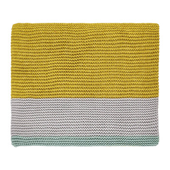 Mini Patchwork Knitted Throw - Aqua