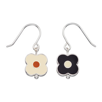 Abacus Flower Drop Earrings - Black
