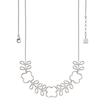 Open Stem Collar Necklace - Silver