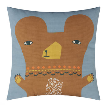 Bear Reversible Pillow - Gray/Orange