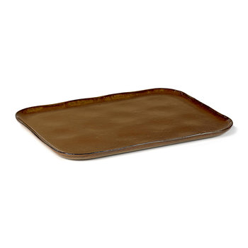 Merci No1 Rectangular Plate - Ocre/Brown
