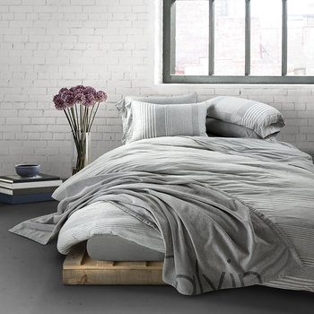 Modern Cotton Rhythm Duvet Cover  - Grey