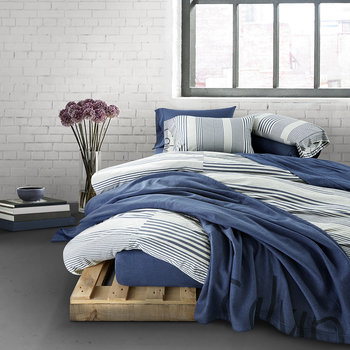 Modern Cotton Rhythm Duvet Cover - Indigo