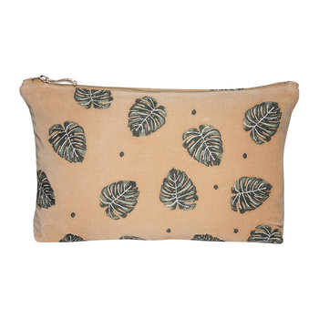 Jungle Leaf Velvet Wash/Clutch Bag - Copper