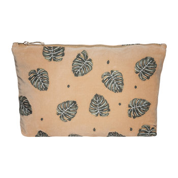 Jungle Leaf Velvet Travel Pouch - Copper