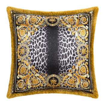 Coussin Animalier Couronne - 50x50cm - Marron/Or