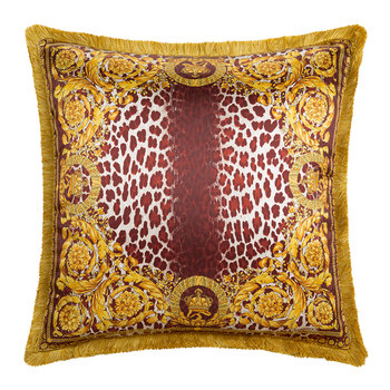 Crown Animalier Cushion - 50x50cm - Red/Beige