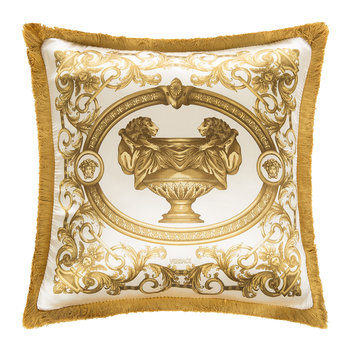 Le Vase Baroque Silk Pillow - 45x45cm - Ivory/Gold