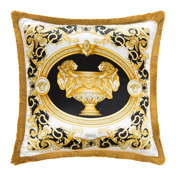 Le Vase Baroque Silk Cushion - 45x45cm - Black/White/Gold