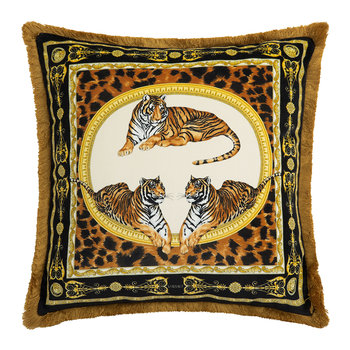 Tiger Cushion - 45x45cm - White/Gold