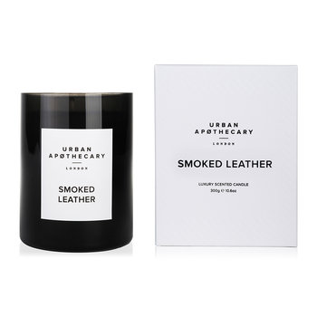 Luxury Scented Candle - Black Glass - Smoked Leather