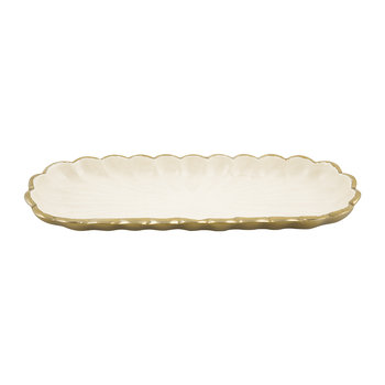 Peony Rectangular Serving Dish - Gold Snow