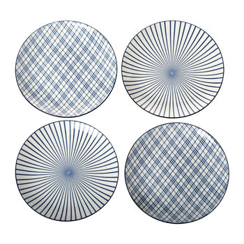 Assorted Check & Stripe Plates - Set of 4