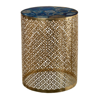 Semi Precious Stone Side Table - Blue/Gold