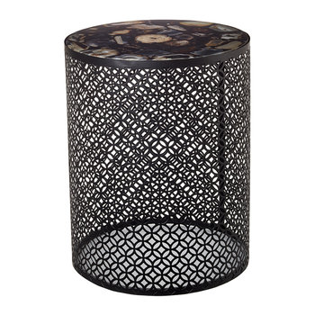 Semi Precious Stone Side Table - Black