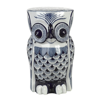 Blue Porcelain Flower Owl Stool